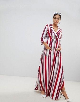 A striped shirt dress with a maxi length and a red stripe print that makes a bold statement. PrettyLittleThing Striped Maxi Shirt Dress, $51, asos.com