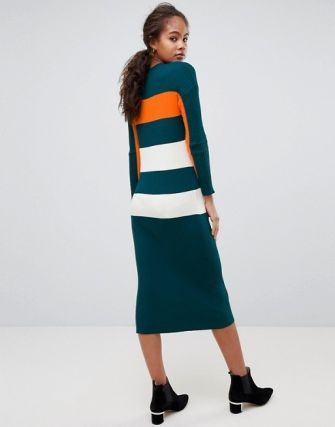 A fitted silhouette ad block-stripe print is both flattering and fun. ASOS DESIGN Tall oversized rib dress in block stripe, $51, asos.com