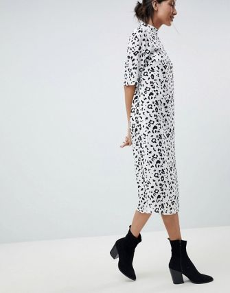 This look may be modest, but the animal print definitely inspires some wild thoughts. ASOS DESIGN Tall Column Dress in Mono Animal Print, $48, asos.com