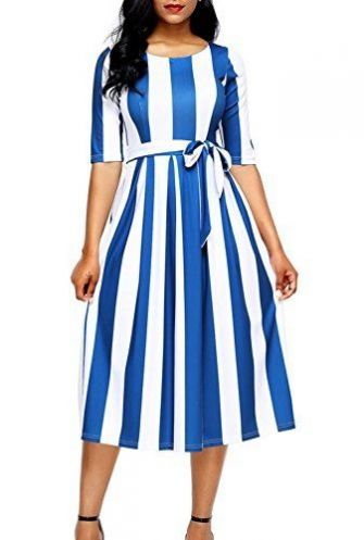 Striped and pleated, this fit-and-flare retro-style dress is both fun and flirty. Dokotoo Womens Summer Casual Stripe Print Half Sleeve Belted Midi A Line Dresses $21.99, amazon.com