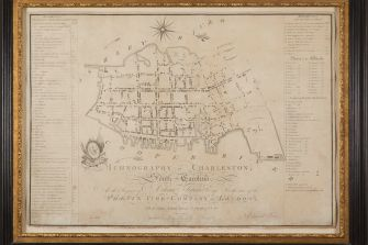 Edward Petrie Map: Ichonography of Charleston showing the synagogue, 1790. Collection of Leonard L. Milberg.