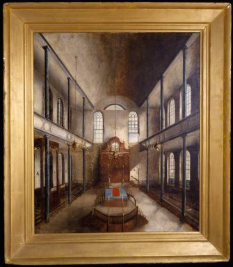 Synagogue Kahal Kadosh Beth Elohim, Interior, 1838. Painting by Solomon Nunes Carvalho.Oil on canvas Collection of Kahal Kadosh Beth Elohim.