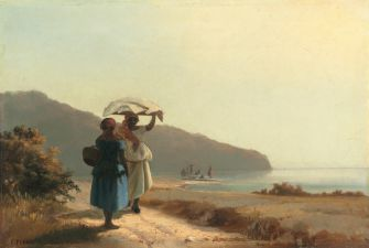 Two Women Chatting by the Sea, St. Thomas, 1856. Painting by Camille Pissarro (1830-1903). Oil on canvas. National Gallery of Art, Collection of Mr. and Mrs. Paul Mellon Image courtesy National Gallery of Art.