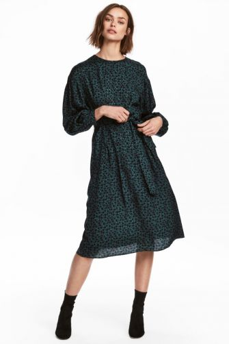Oversized, flowing balloon sleeves give a romantic edge. H&M balloon sleeve micro print calf-length dress, $59.99 hm.com