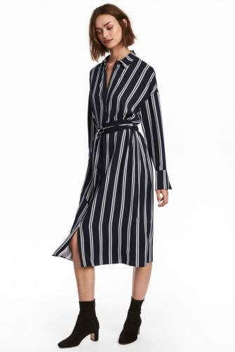 A classic, this shirtdress feels modern fabricated in a dark hue. H&M woven rayon striped belted shirt dress $49.99 hm.com