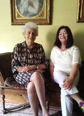 Rivka Greenberg (right) and Maria Luisa Mayer-Modena, granddaughter of the late owner of the Villa Mayer, Saly Mayer, 2017, in Milan