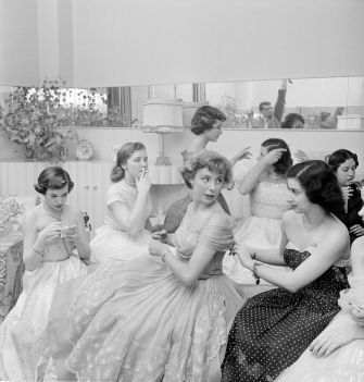"""Betsy von Furstenberg with friends from """"The Debutante Who Went To Work,"""" 1950."""