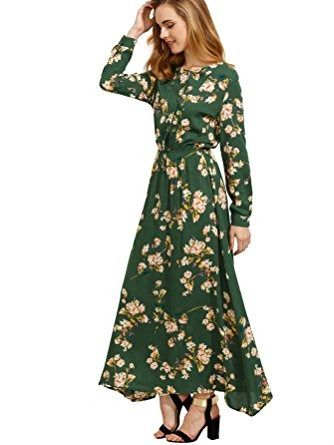 Florals for spring may not be groundbreaking, but cast on an emerald background, it definitely looks fresh. Floerns Women's Long Sleeve Floral Print Button Casual Maxi Dress elastic waist, $25.99 amazon.com