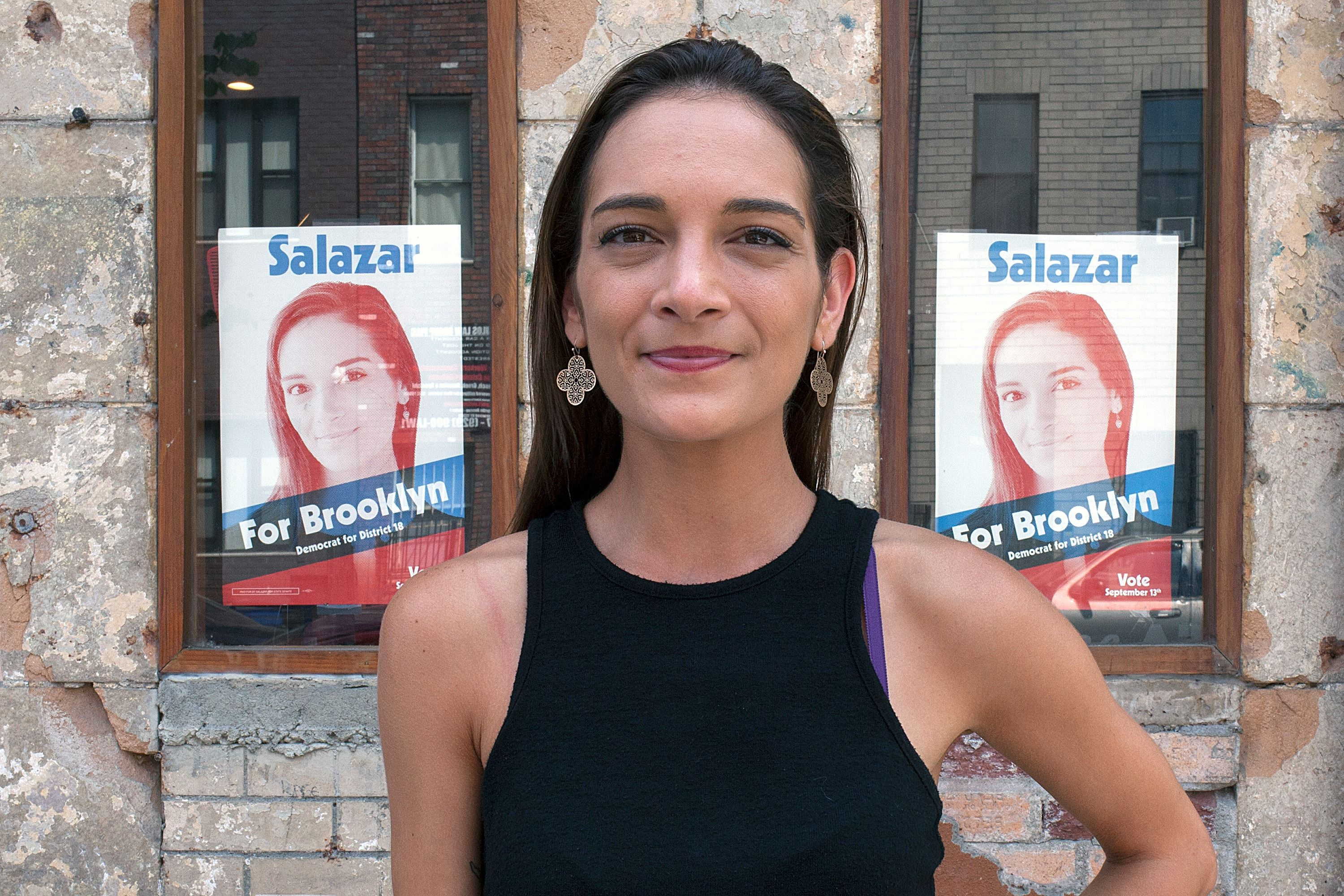 Julia Salazar Stands In Front Of Her Campaign Headquarters In Bushwick On July