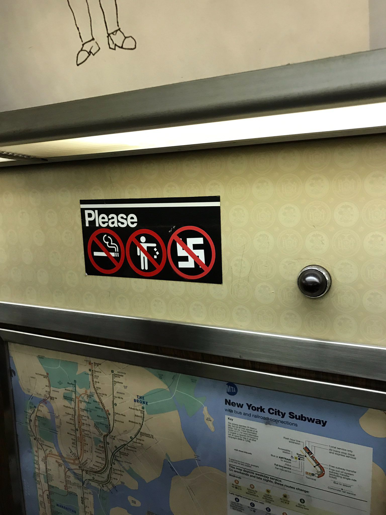 This Time, It's a 'No-Swastikas' Sign Found on the New York City Subway by the Forward