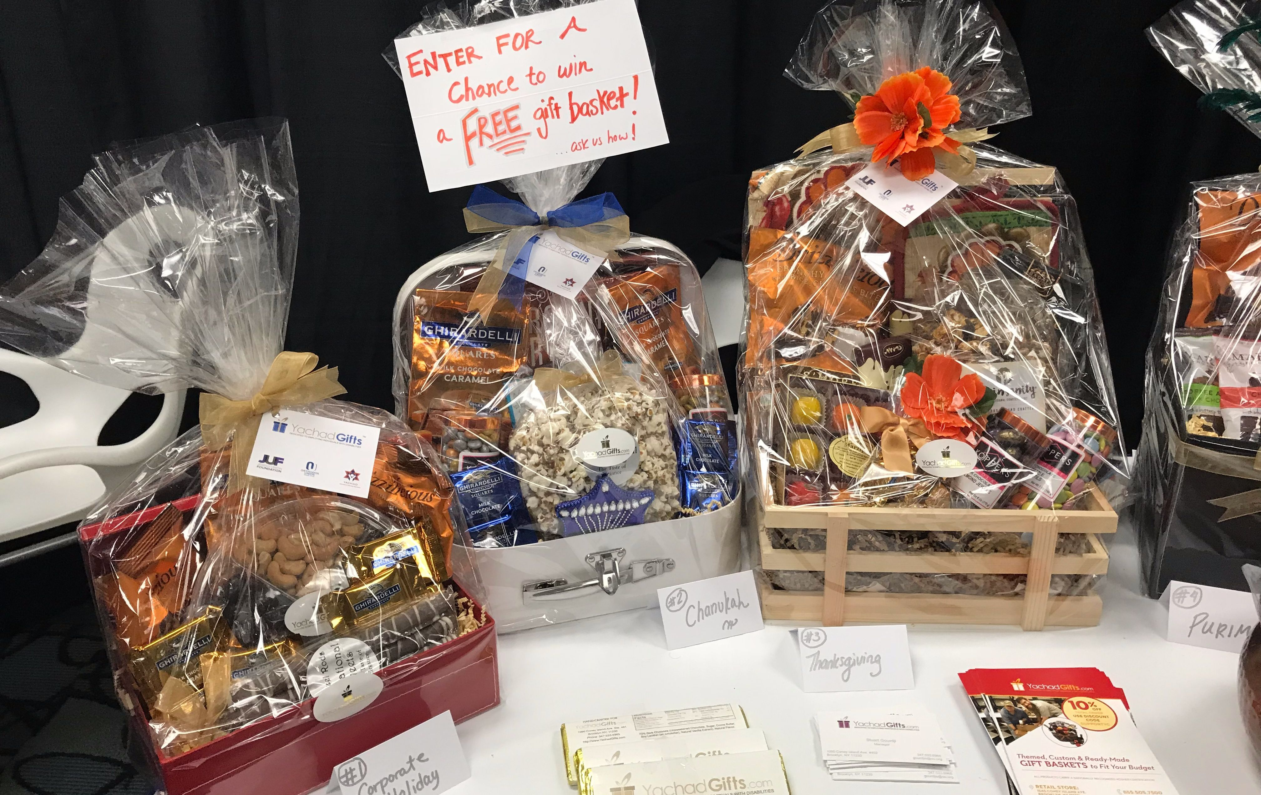 Yachad gift baskets for hanukkah the forward yachad gift baskets on display at kosherfest 2017 negle Gallery