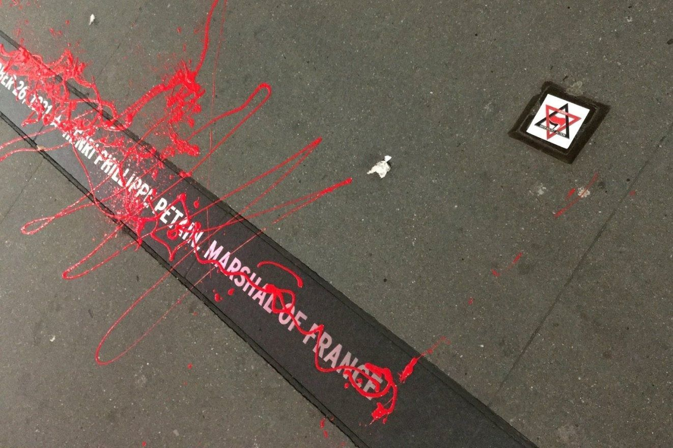 The antifa group Jewish Antifascist Action vandalized a plaque in New York honoring Nazi collaborator Philippe Petain. by the Forward