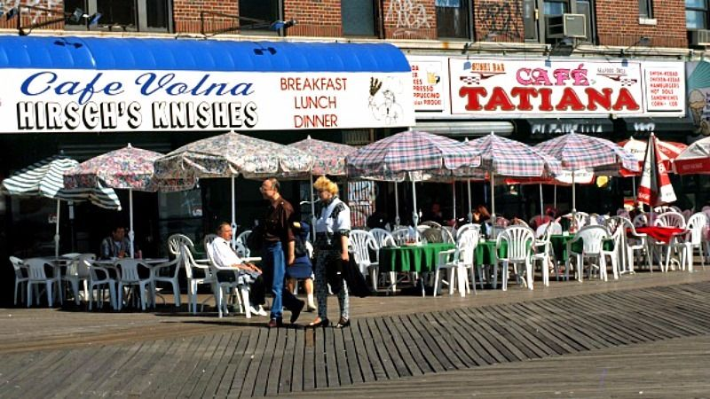 The Brighton Beach Boardwalk Is Lined With Non Kosher Russian Restaurants Though Area