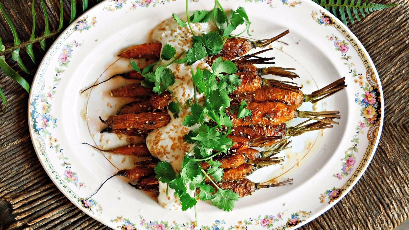 Roasted Carrots With Zau0027atar Topped With Greek Yogurt, Cilantro And Sesame  Seeds Was